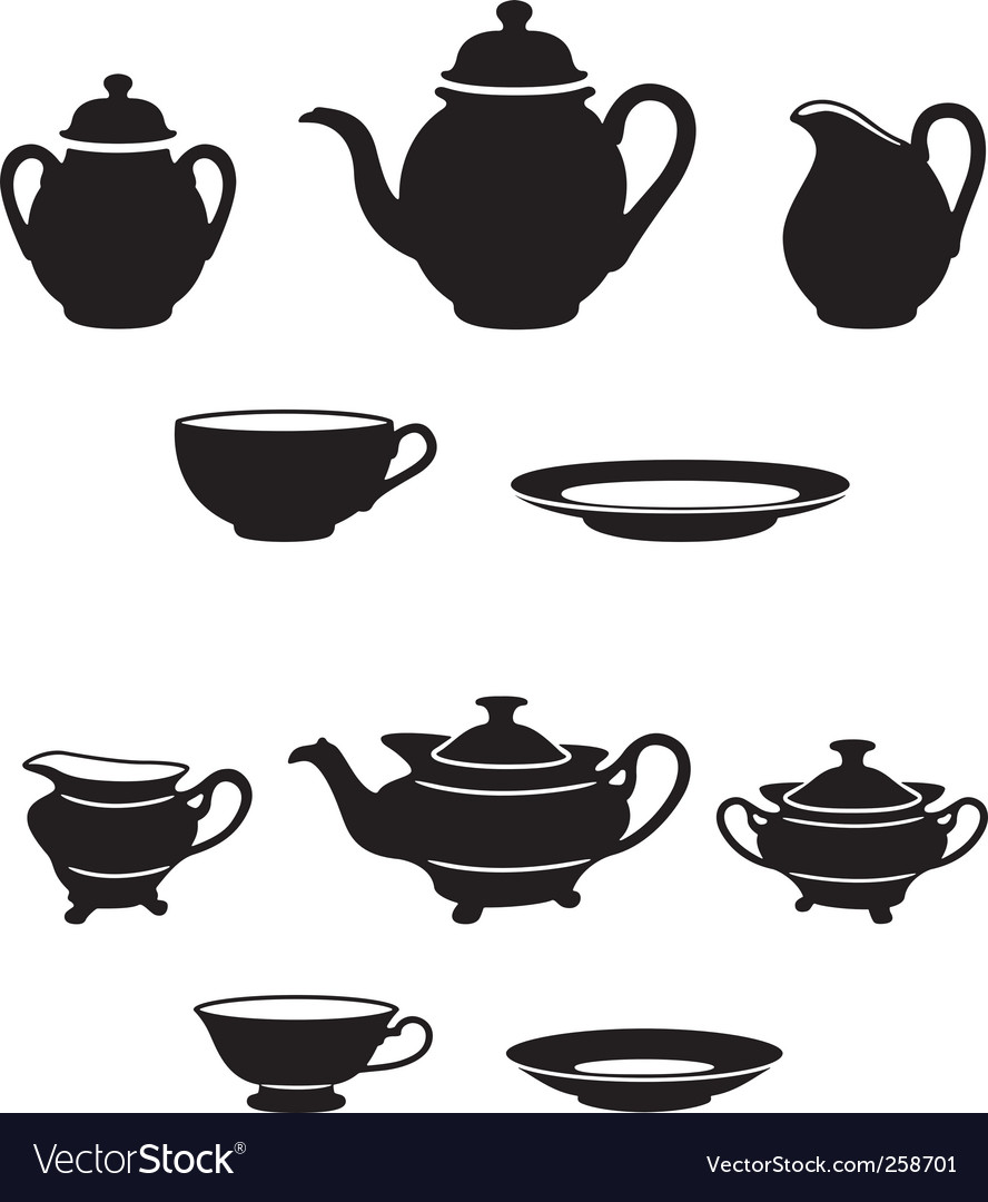 Tea sets vector