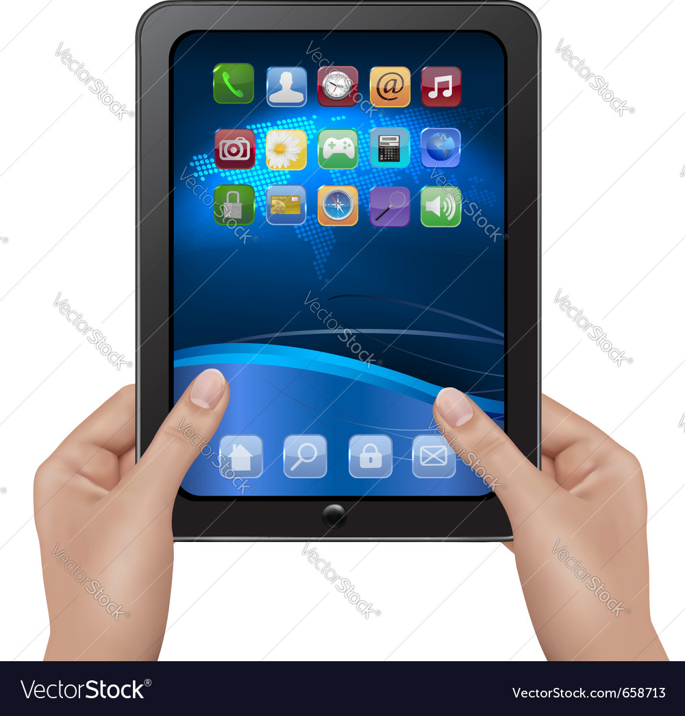 Hands holding digital tablet computer vector