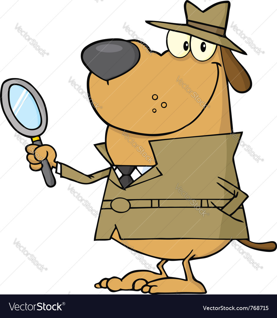 Detective dog holding a magnifying glass vector