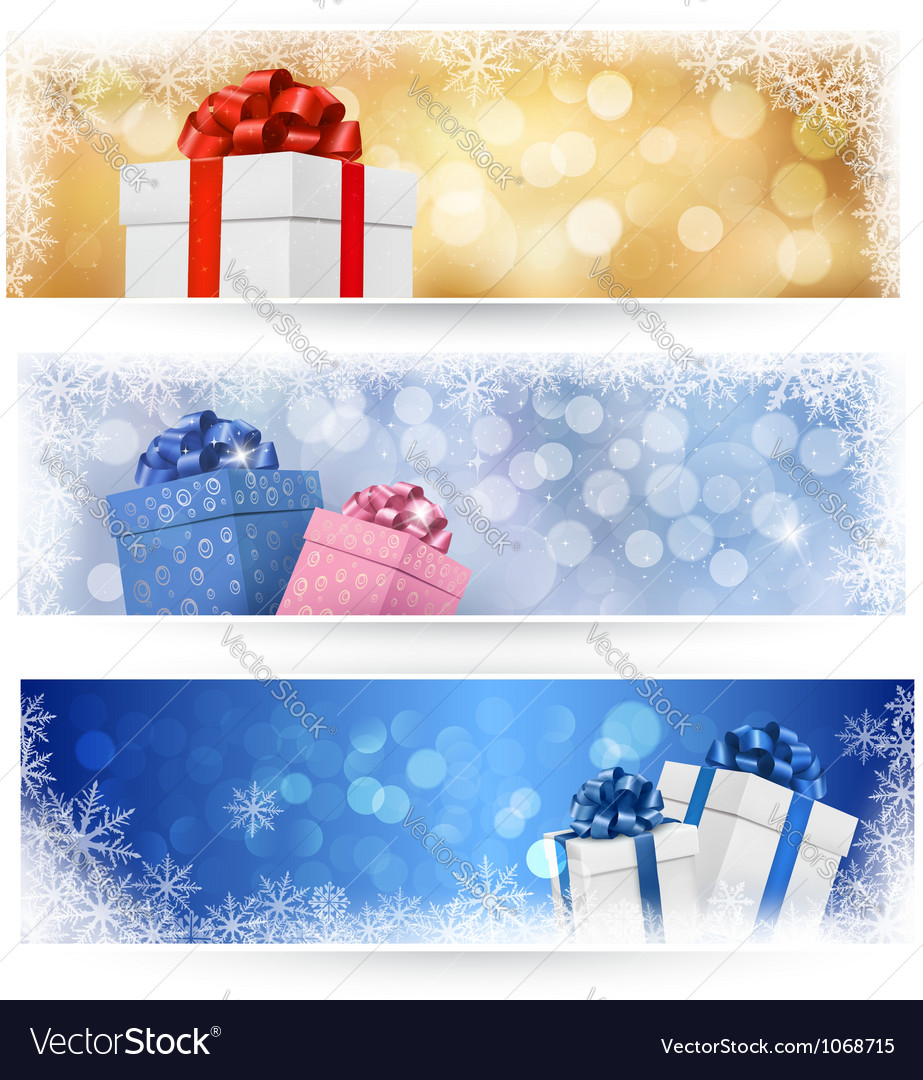 Three christmas banners with gift boxes vector