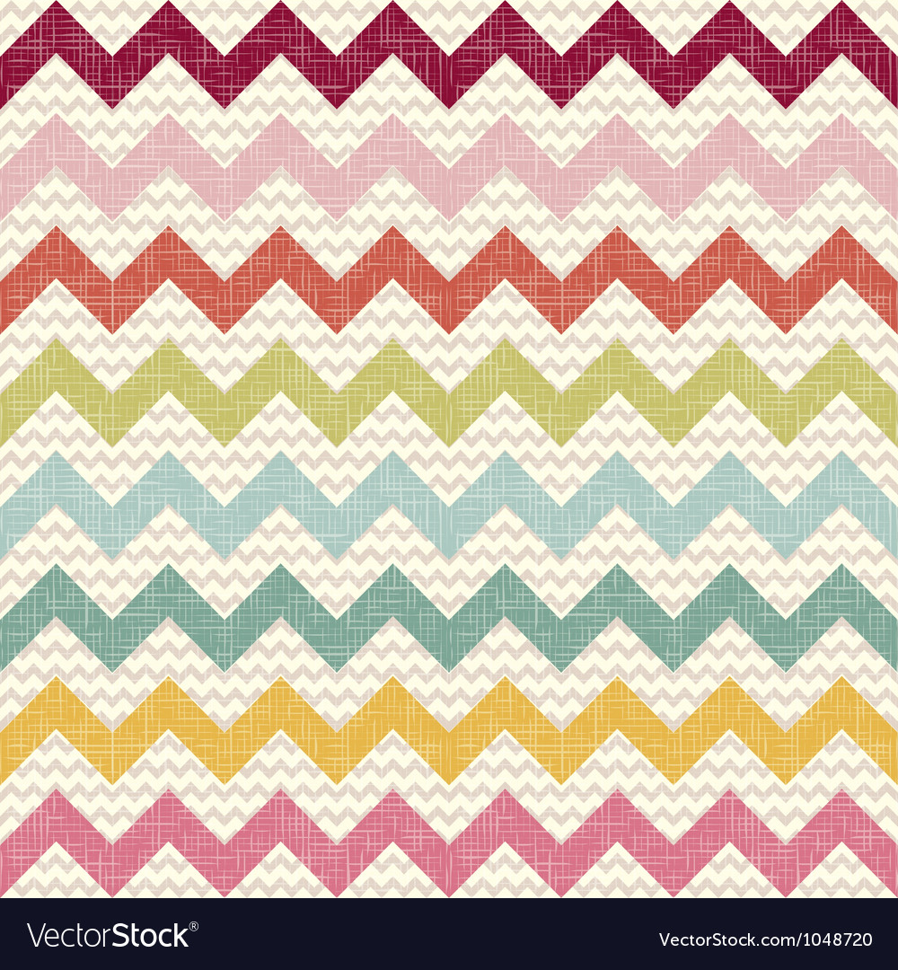 Seamless color chevron pattern on linen texture vector