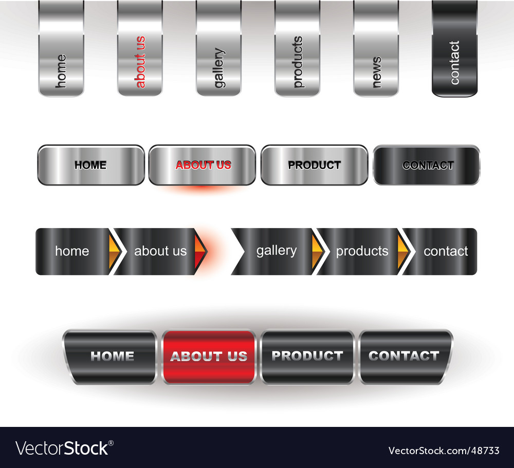 Metallic editable website buttons vector