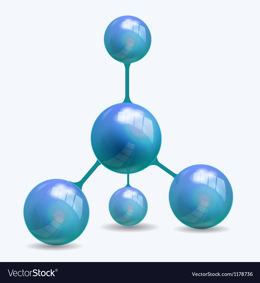 Blue molecule structure vector