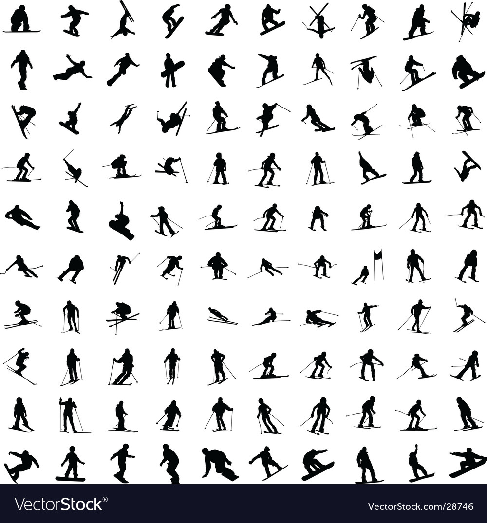 Silhouette of skiers vector