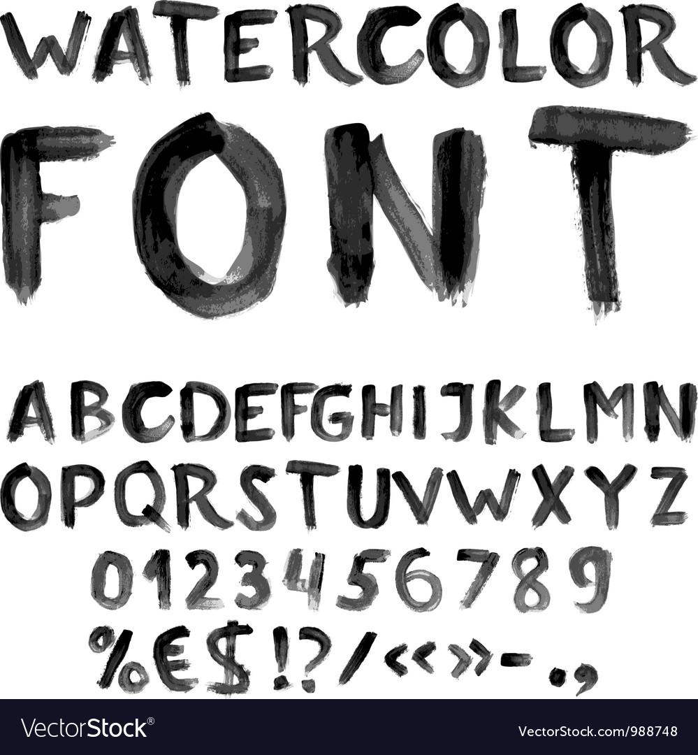 Handwritten black watercolor alphabet vector