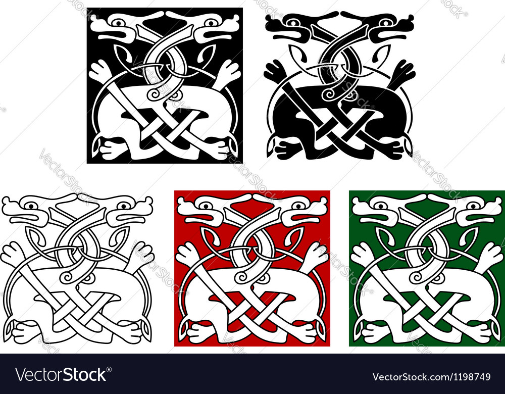 Celtic ornament with wild dogs vector