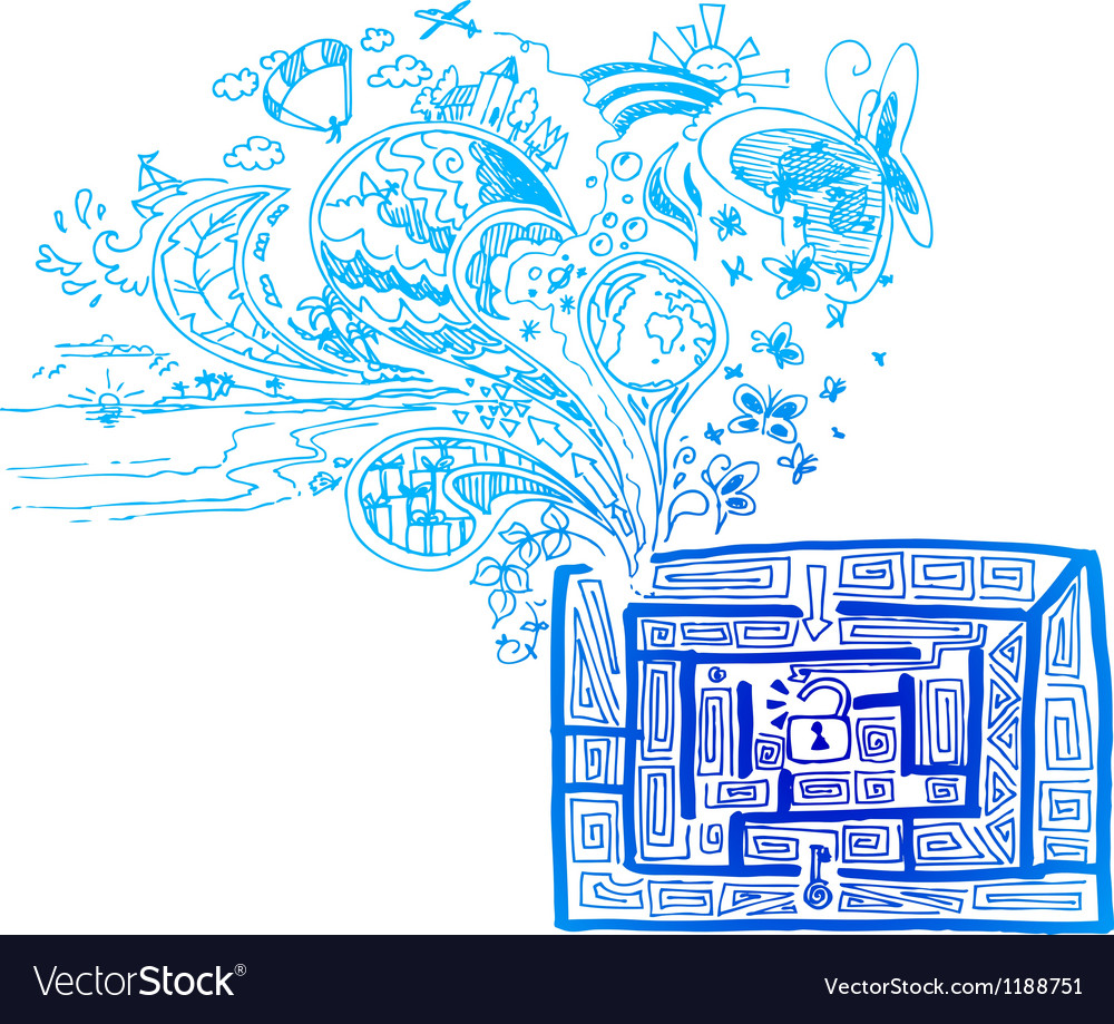 Blue maze with doodles vector