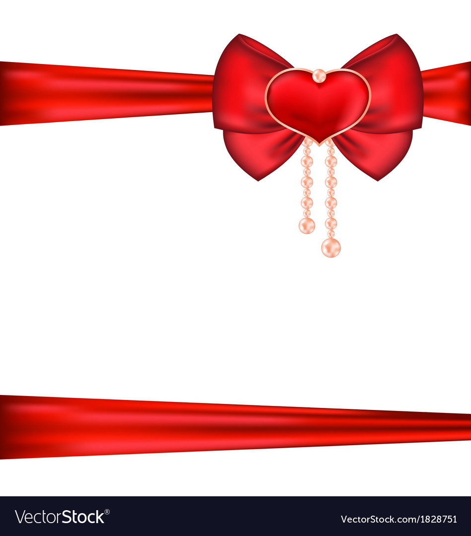 Red bow with heart and pearls for packing gift