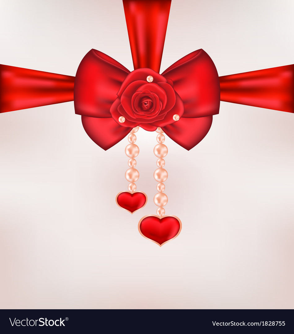 Red bow with rose heart pearls for card valentine