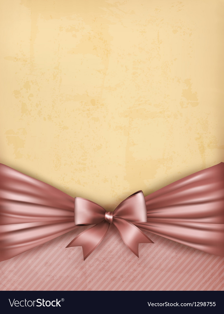Vintage background with old paper with gift bow vector