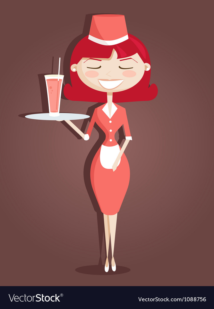 Cute waitress vector