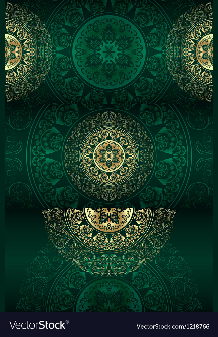 Set of green vintage floral backgrounds vector