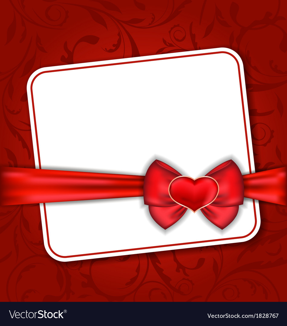 Beautiful card for valentine day with red heart
