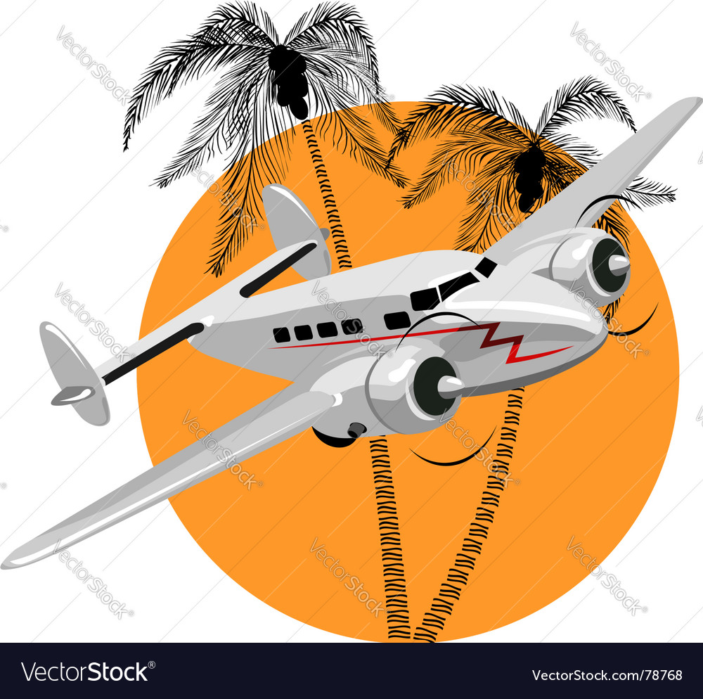 Cartoon retro airplane vector