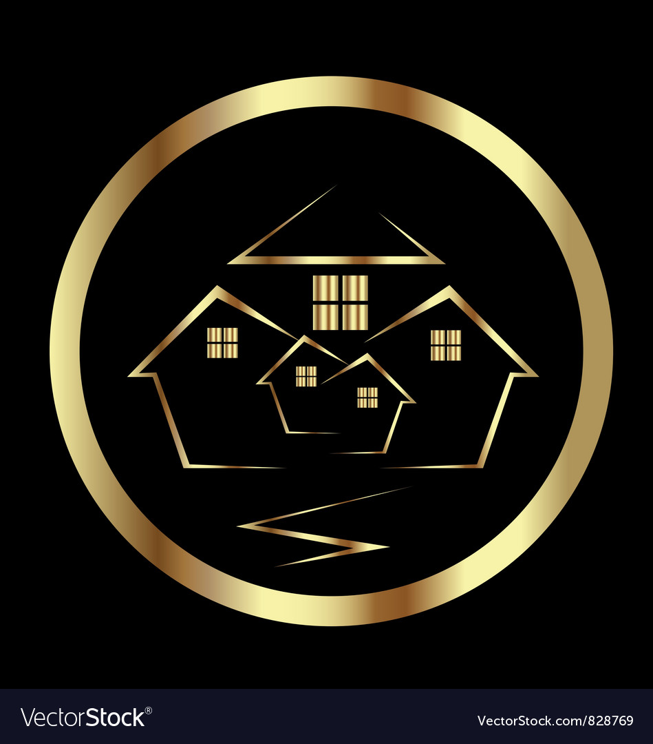 Gold houses icon vector