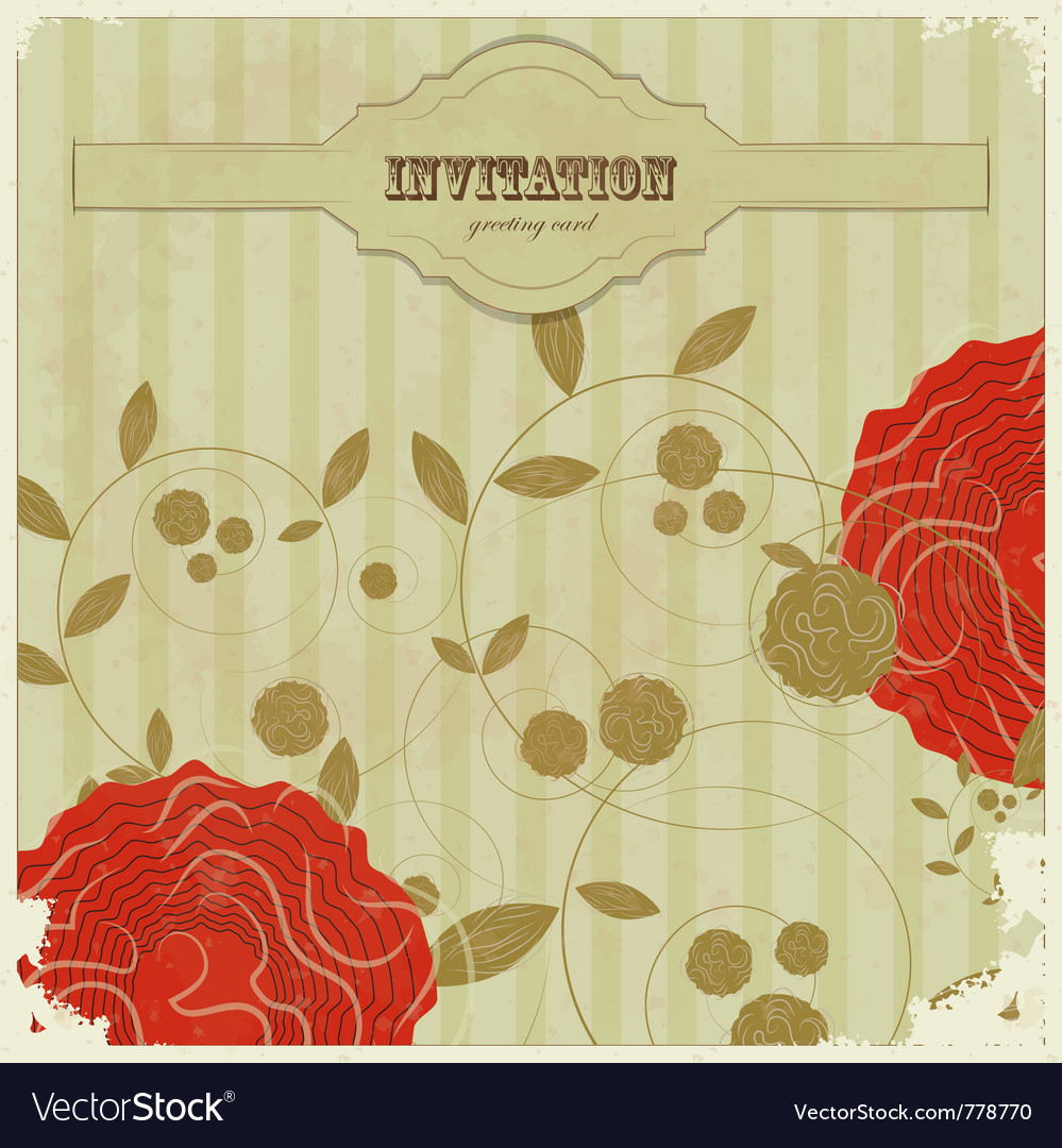 Vintage card with with flowers vector