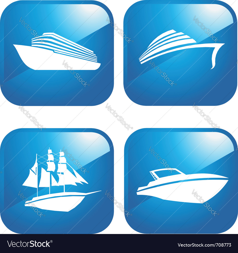 Set of web boat icons vector