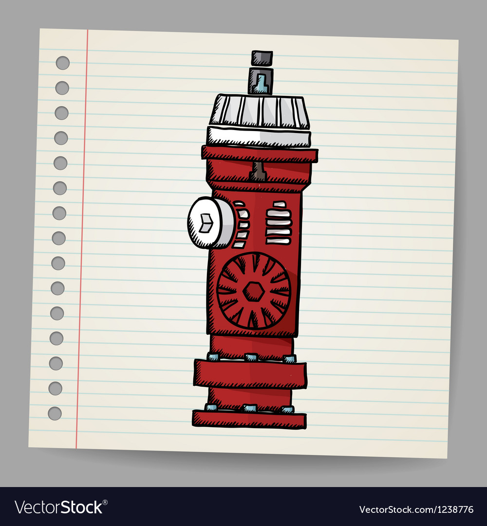 Fire hydrant doodle style vector