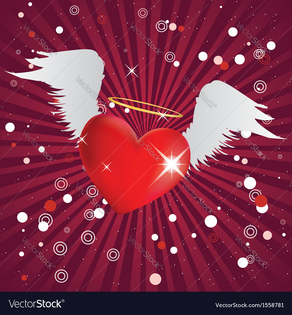 Shiny heart with angel wings vector