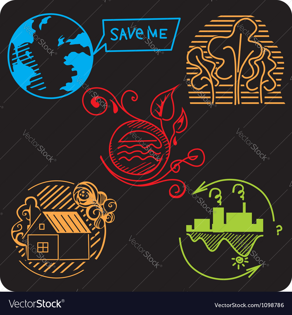 Eco  green life  set vector