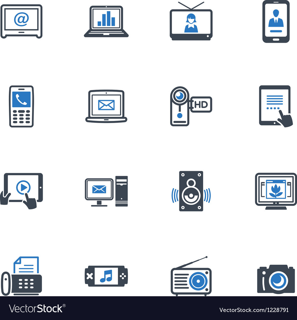Electronics icons  blue series vector