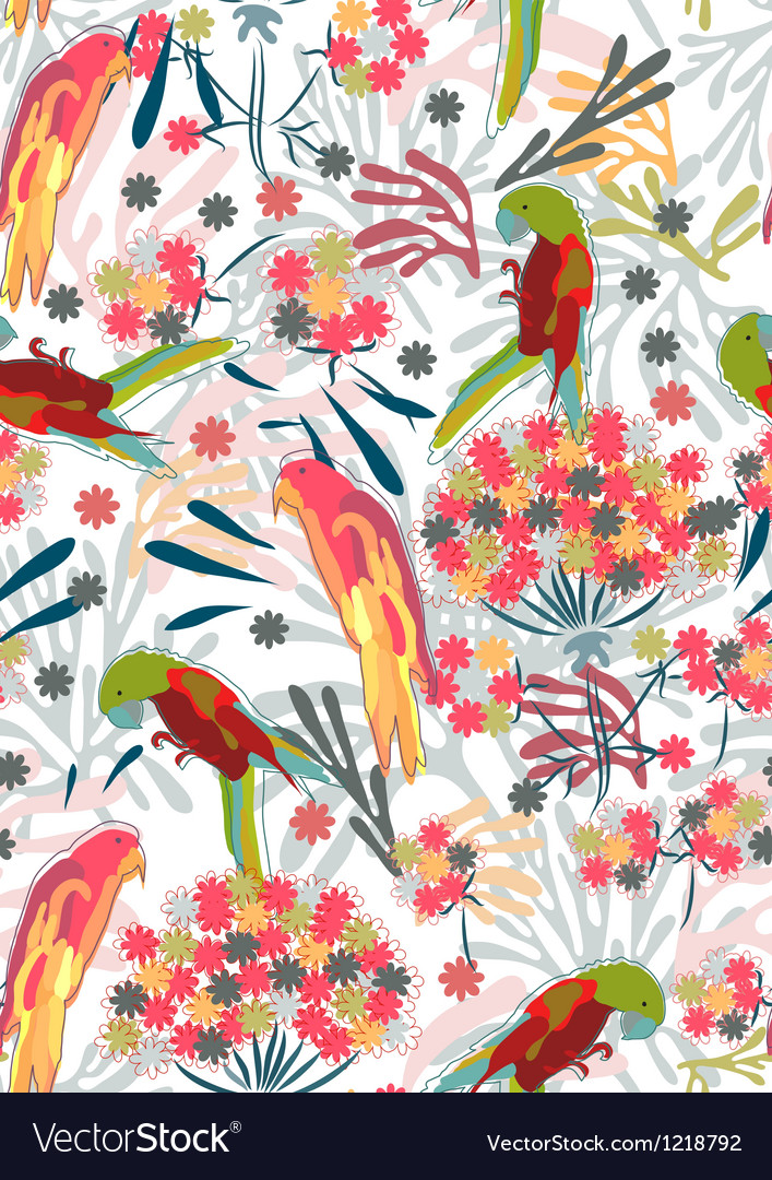 Seamless background with colorful birds vector