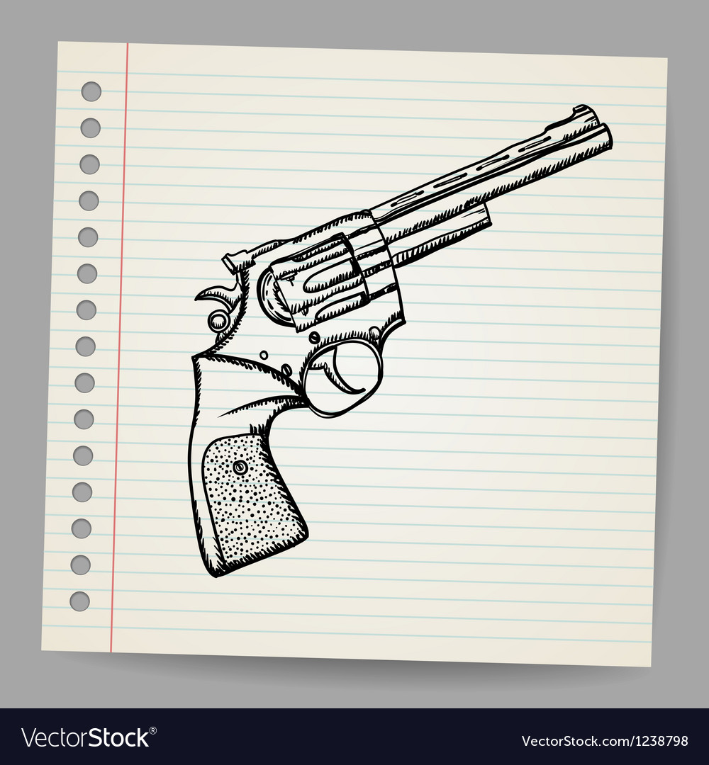 Revolver drawing in doodle style vector