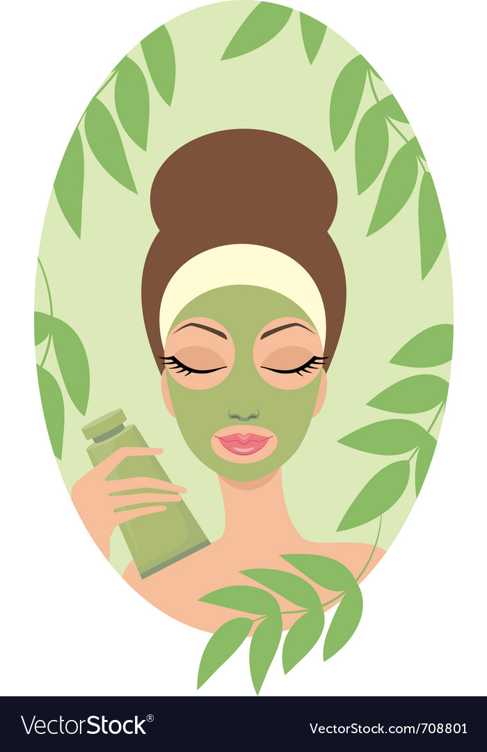Woman with facial mask vector