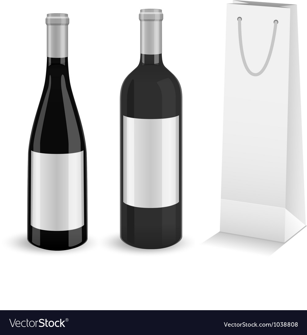 Wine bottles with bottle gift bag vector