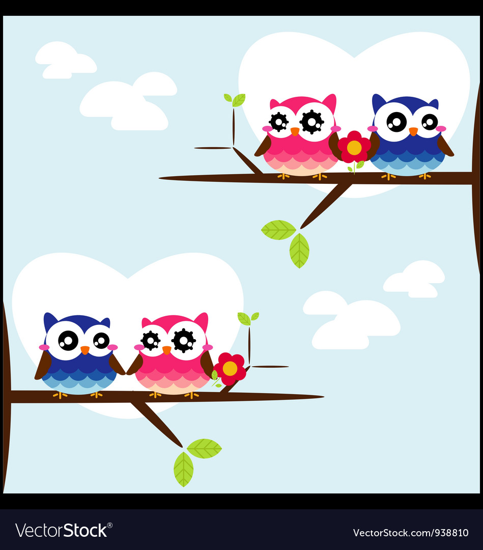 Couples of owls sitting on branches vector