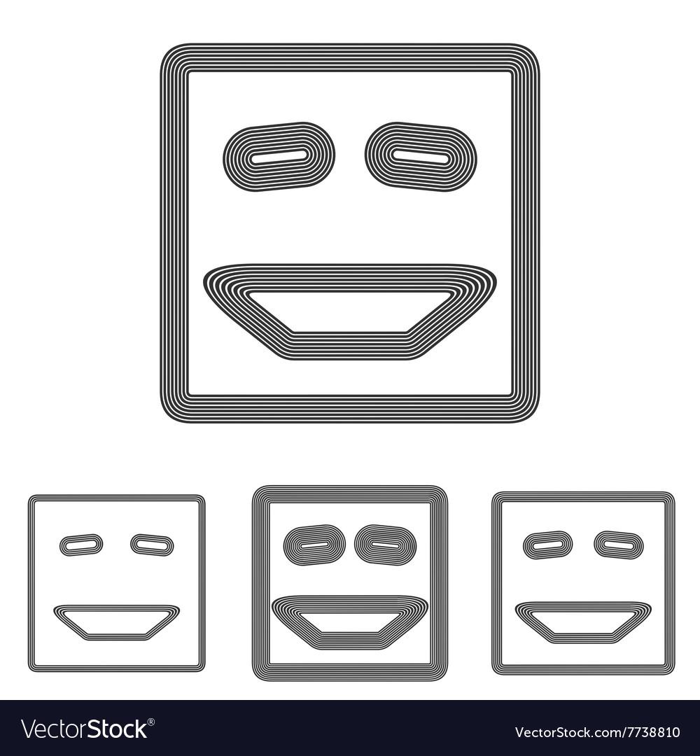 Line laughing face symbol design set
