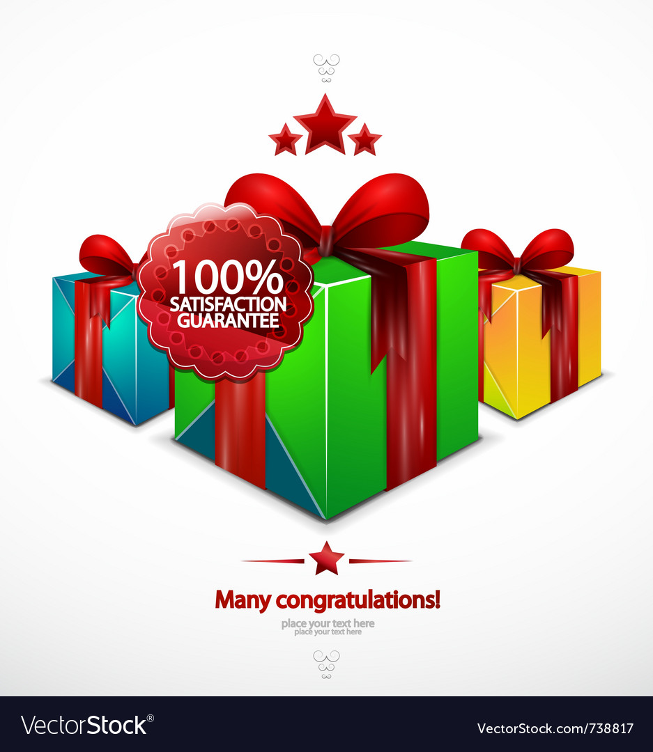Holiday poster with gift vector