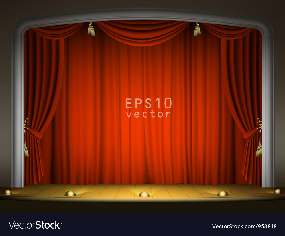 Empty stage with red curtains vector