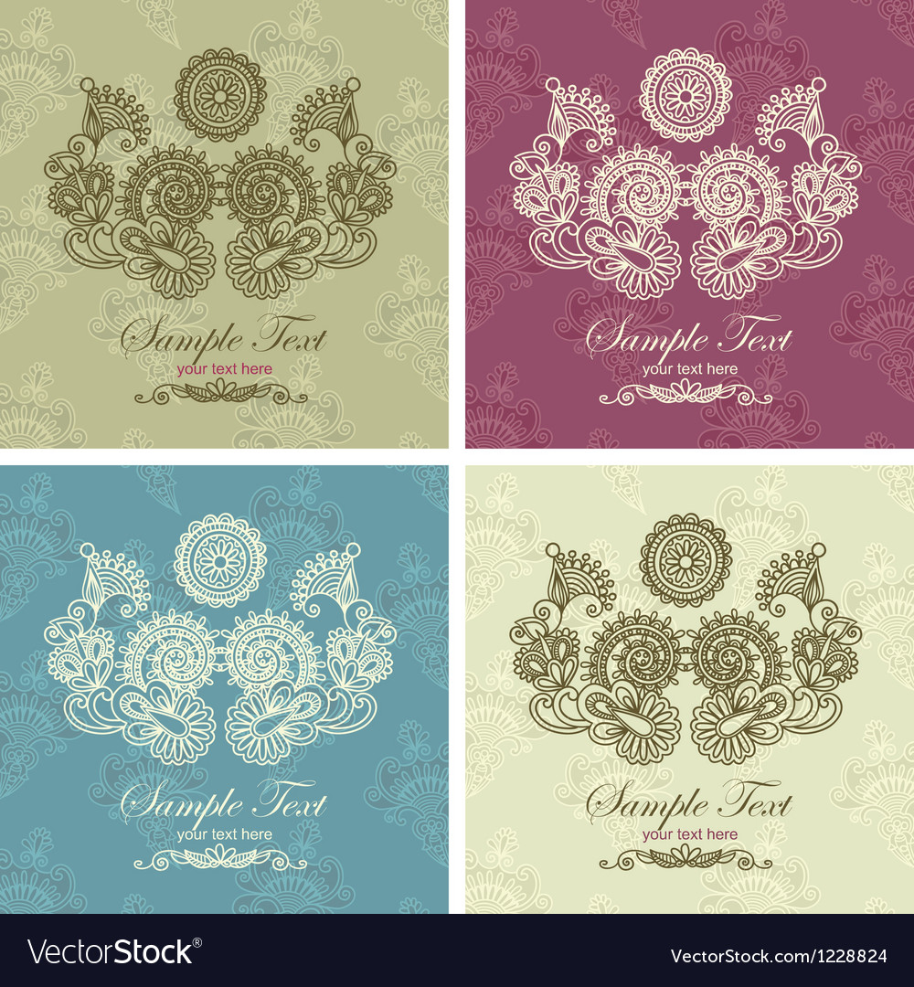 Hand draw ornate vintage frame in floral backgroun vector