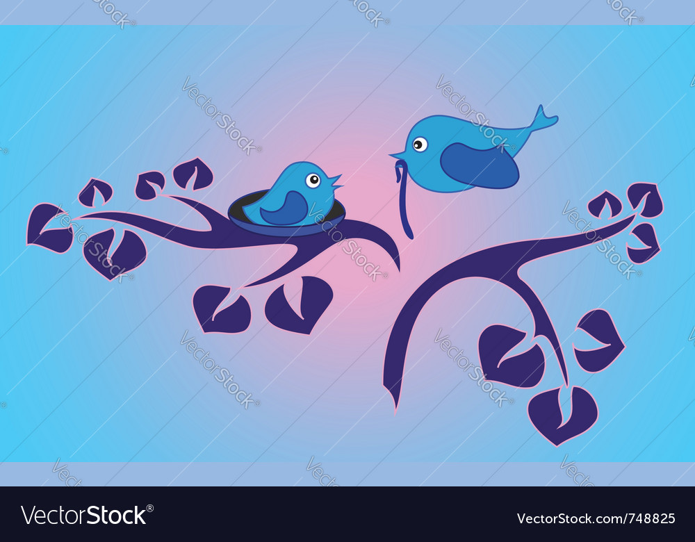Morning in the bird family vector