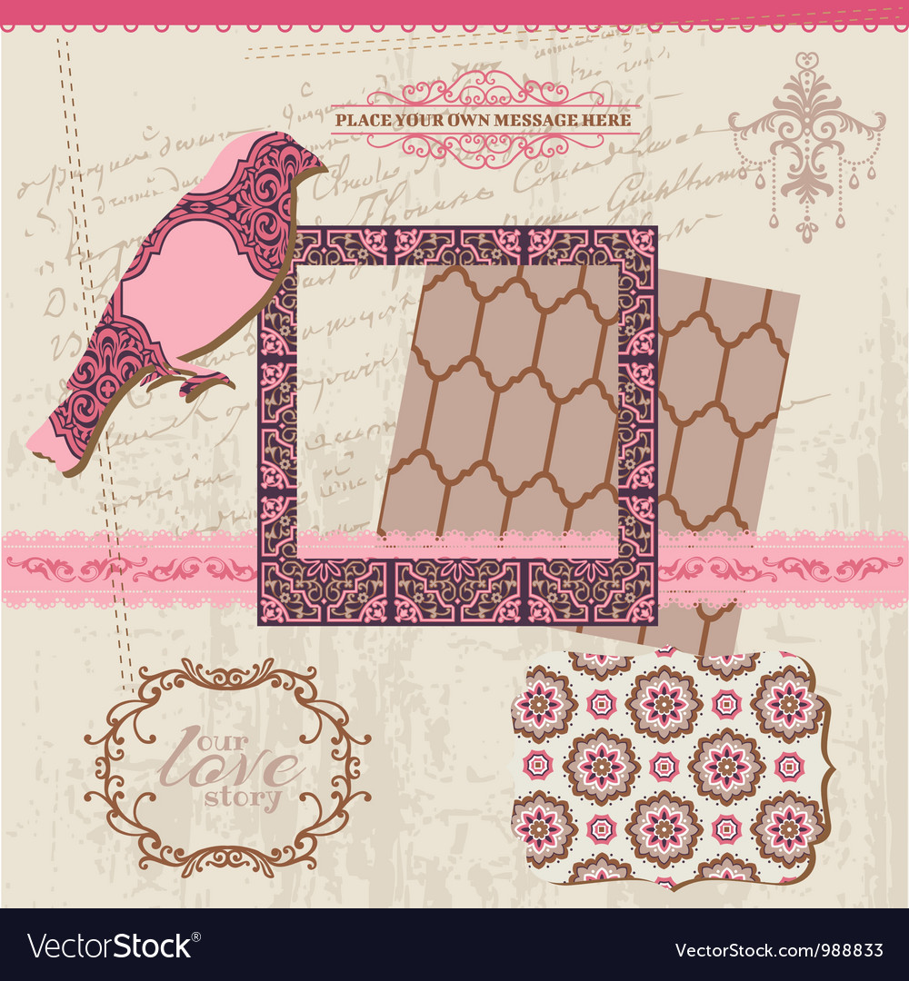 Scrapbook design elements  vintage tiles vector