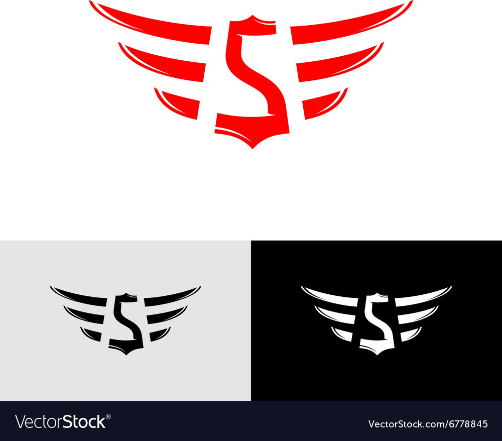 K Letter In Style Red Letter S Logo letter s with wings east asia style logo vector by ...