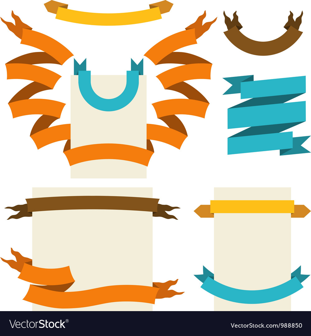 Retro ribbons labels set vector