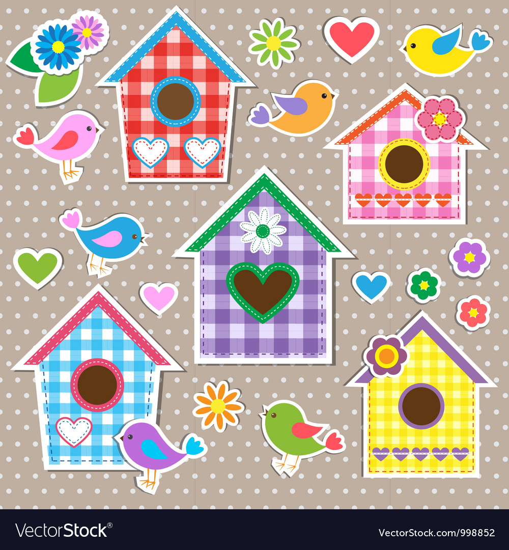 Birdhousesbirds and flowers vector