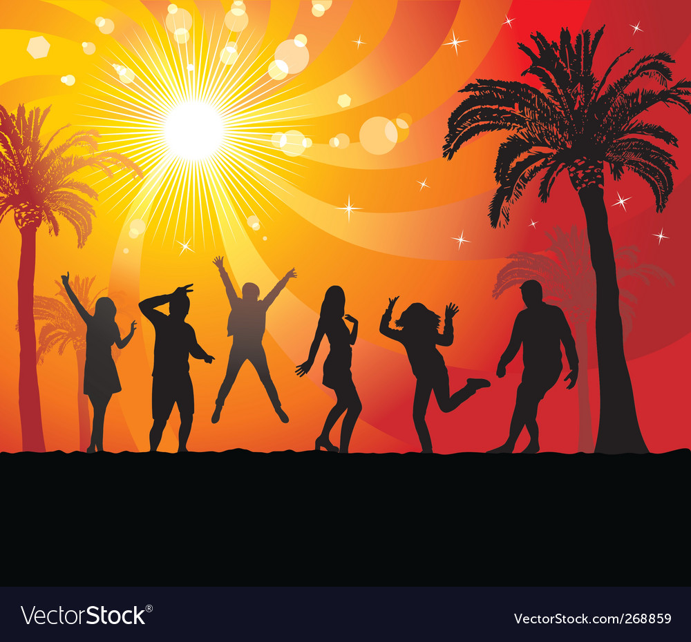 Disco evening in the paradise vector