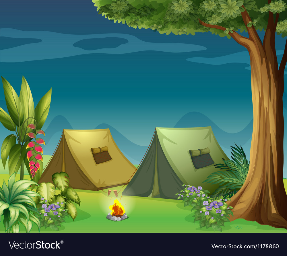 Tents in the jungle vector