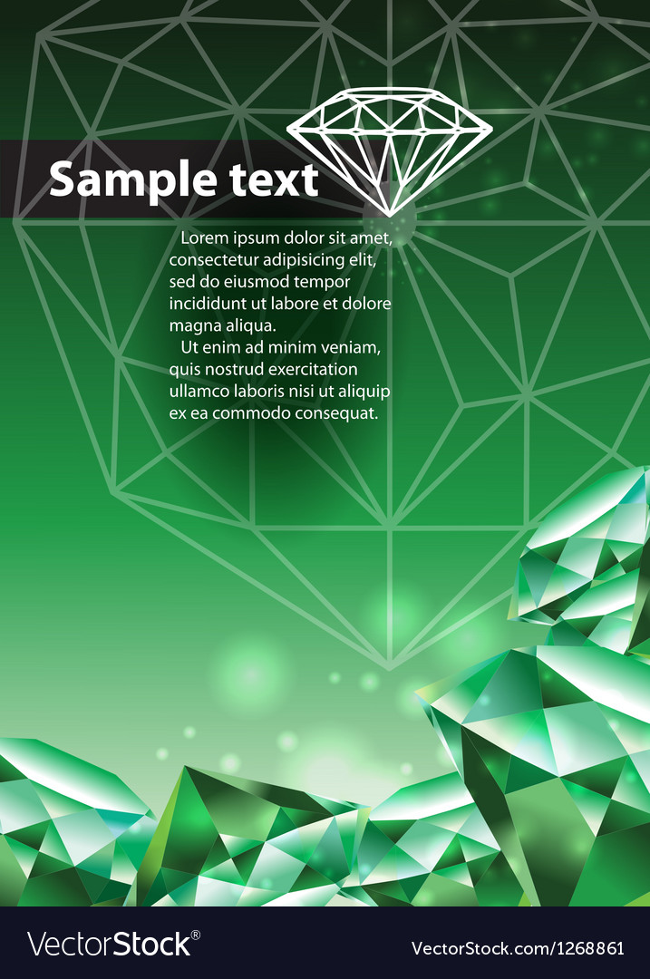 Template with green emerald vector