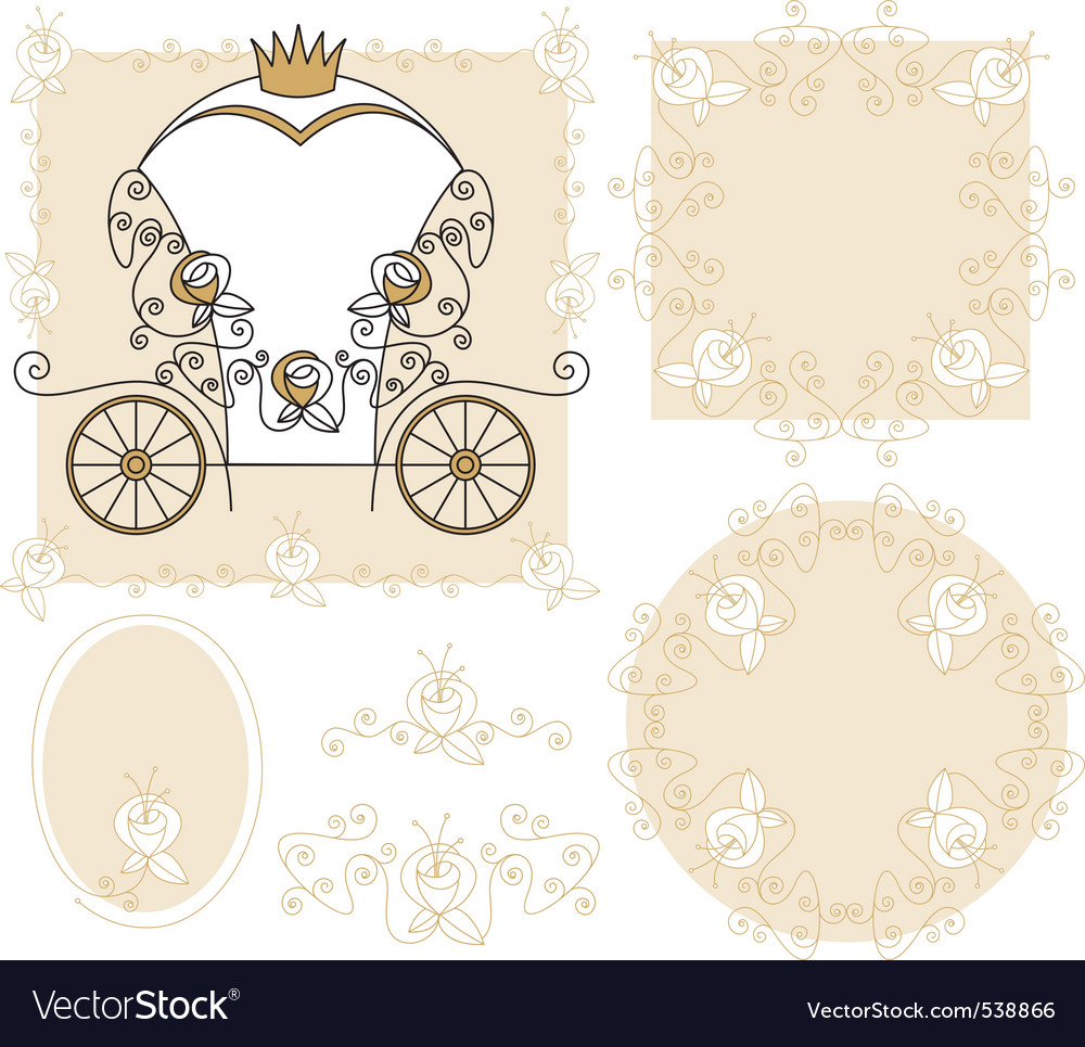 Set wedding decoration vector