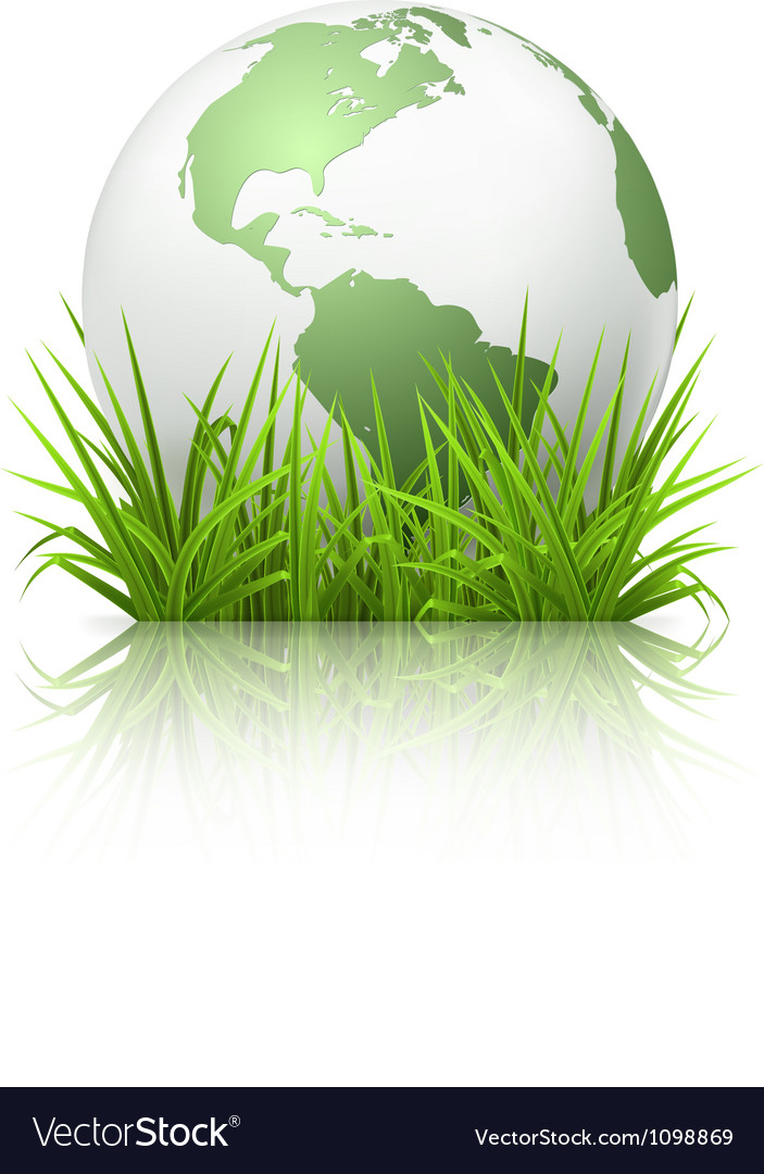 Globe on grass vector