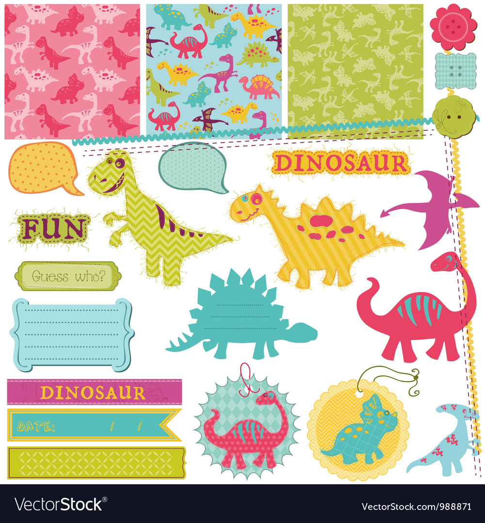 Scrapbook design elements  baby dinosaur set vector