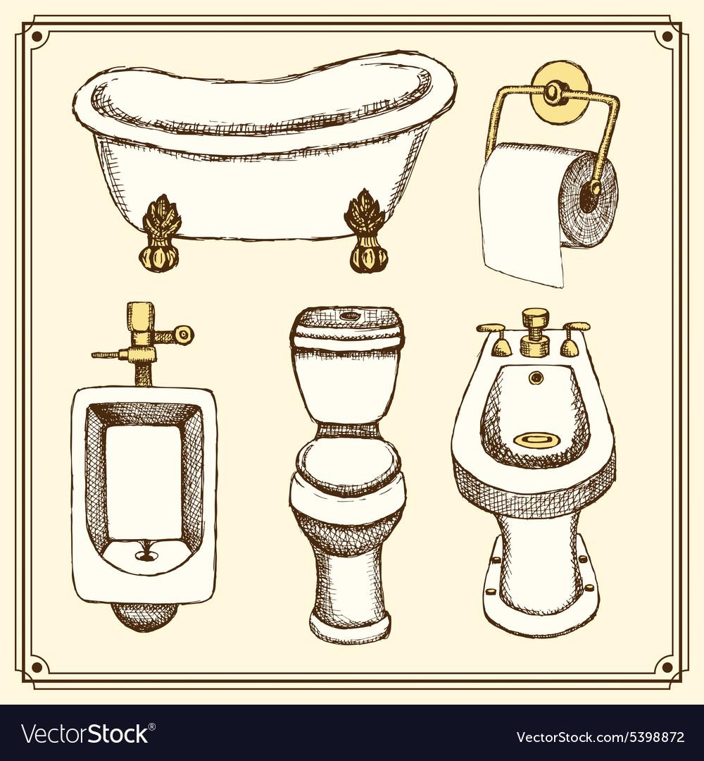 Sketch bathroom and toilet equipment vector  Sketch bathroom and toilet  equipment vector by kali13 Image. Toilet Equipment