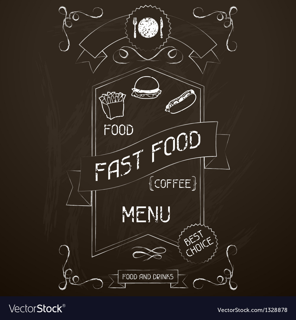 Fast food on the restaurant menu chalkboard vector