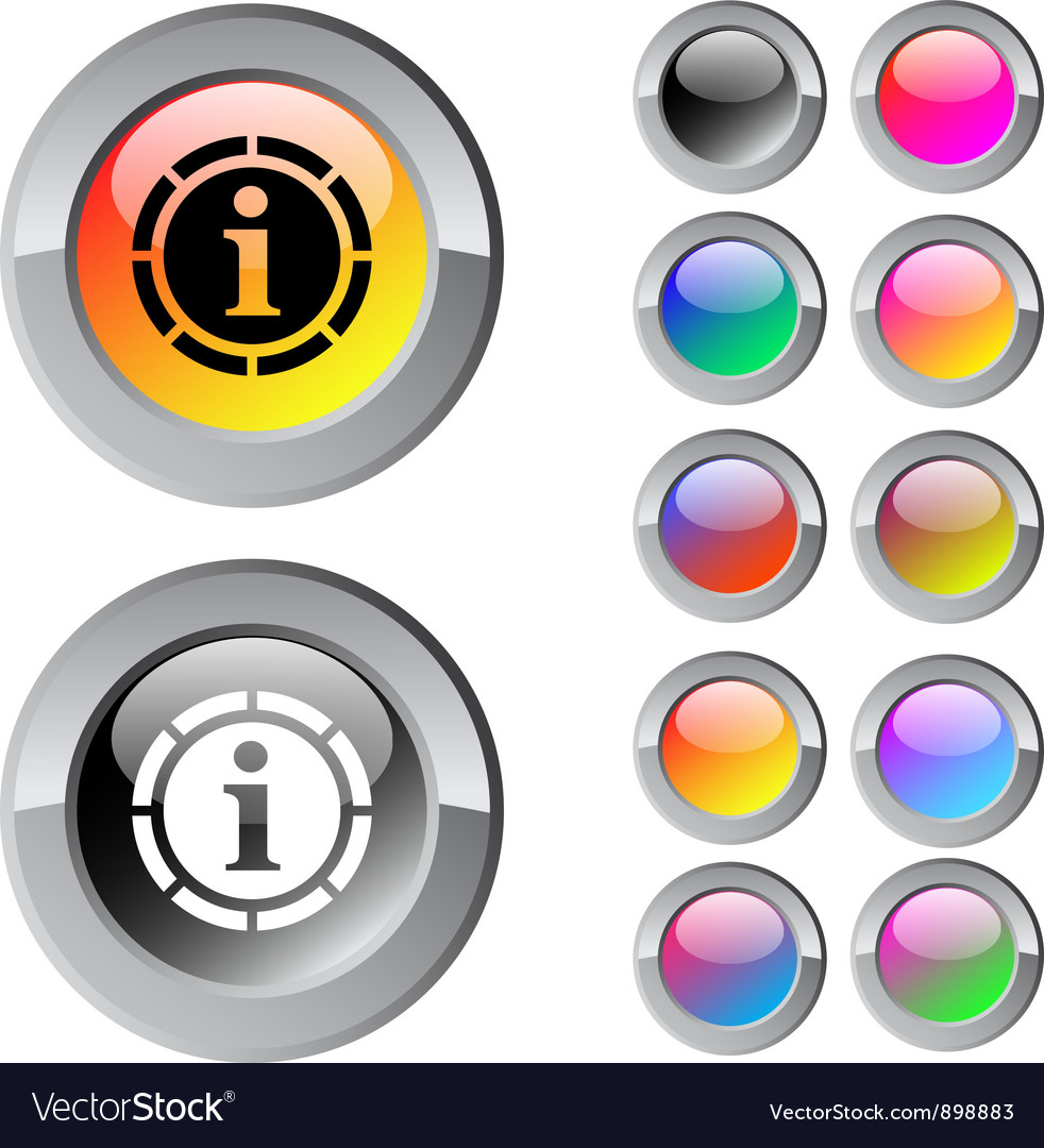 Information multicolor round button vector