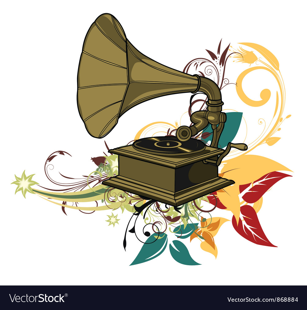Free gramophone with floral vector