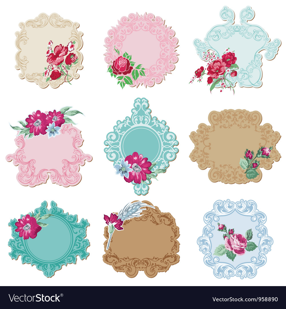 Scrapbook design elements  vintage tags vector